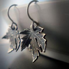 Silver Maple Leaf Earrings #jewelry #earrings