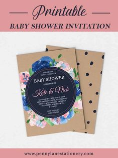 Featuring Navy Blue and Pastel Pink watercolour florals, this chic Baby Shower is an easy printable DIY invitation for your event! Simply download, edit in Adobe Reader and print!  Baby Sprinkle Card Invite 5 x 7 Stationery Kraft Instant Download Template Affordable Budget Boy Girl Gender Neutral Unisex Ideas Inspiration Royal polka Dots Candy   #babyshowerinvites #babyshowerinvitations #diyinvites #diyinvitations #babyshowerprintables #navybluebabyshower #bluebabyshower… Diy Invitations, Baby Shower Invitations, Dots Candy, Stationery Printing, Penny Lane, Chic Baby, Baby Sprinkle, Tight Budget, Pink Watercolor
