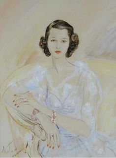 Cecil Beaton, An Elegant Lady. Pencil and watercolor on paper.