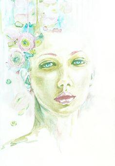 "Saatchi Online Artist Christina Leta Smith; Painting, ""Patience"" #art #defectivebarbie #watercolor #modern watercolor #portrait"