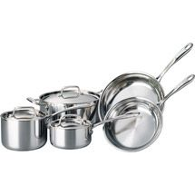 Walmart: Tramontina 8-Piece 18/10 Stainless Steel TriPly-Clad Cookware Set. Cook's Illustrated recommended the 8 piece set, calling the performance and design comparable to All-Clad