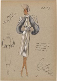 """Belted dress with front-pleated skirt and jacket with cape sleeves trimmed in fox fur. Note Printed on image: """"Cape 'sleeves' in 'sling' effect on lumber jacket"""" 1939 Croquis Fashion, Fashion Sketches, Fashion Drawings, Vintage Outfits, Vintage Fashion, 1930s Fashion, Suit Drawing, Costume Design Sketch, Dress Sketches"""