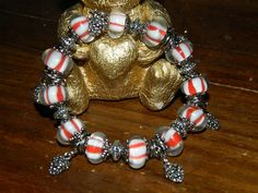 Peppermint Candy and Pine Cones on an elastic bracelet by SerenitysArt