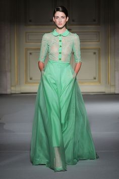 Green dress at Georges Hobeika Spring Summer 2013 Paris Couture #Fashion Week #PFW