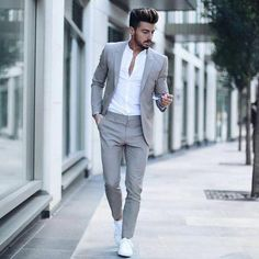 Suit fashion - Men's Classic Solid Color Slim Suit Set Formal Men Outfit, Casual Outfits, Formal Suits, Casual Wedding Attire For Men, Semi Formal Outfits, Men's Outfits, Mens Classy Outfits, Men's Formal Wear, Mens Semi Formal Wear