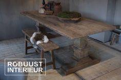 #robuustinterieur#tafel#eettafel#kloostertafel#kasteeltafel#oud#hout#eiken#landelijk#wonen#interieur#kloosterpoot#