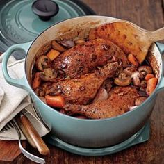 Coq au Vin Recipe   Williams-Sonoma - A traditional dish of Burgundy, coq au vin is perfect for cool autumn and winter evenings. This version calls for whole chicken legs, which emerge exceptionally moist and tender after long, slow cooking in a Dutch oven.