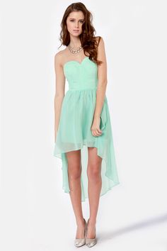 Lovely Strapless Dress - Mint Blue Dress - High-Low Dress - $76.00