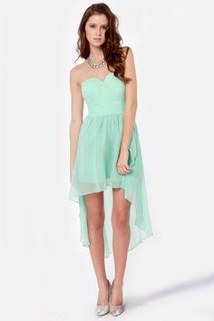 Lovely Strapless Dress - Mint Blue Dress - High-Low Dress - $76.00