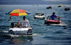 amphibious vehicle rally in switzerland.