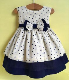 Designer Baby Girl Dress 12 Months - Handmade in the UK. Cream and Navy by Bonit., Designer Baby Girl Dress 12 Months - Handmade in the UK. Cream and Navy by Bonit. Designer Baby Girl Dress 12 Months - Handmade in the UK. Cream and. Baby Girl Frocks, Frocks For Girls, Dresses Kids Girl, Kids Outfits, Dress Girl, 50s Dresses, Elegant Dresses, Baby Dresses, Girl Skirts