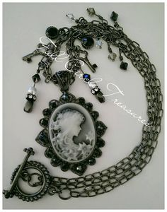"Antiqued cameo necklace, vintage style, steampunk, Gift for her, Victorian, Metaphysical, Goth, Hematite, Haunting, 20"" Cameo necklace by fullcircletreasures. Explore more products on http://fullcircletreasures.etsy.com"