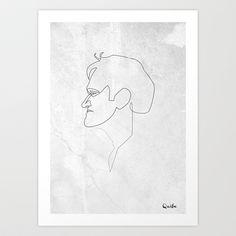 One line Quentin Tarantino Art Print by quibe - $18.72