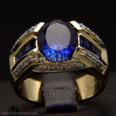Lab Sapphire Diamonds 10K Solid Gold Mens Ring R10200 | eBay