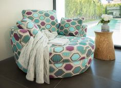 Plush - Snuggle® Bespoke Chair featuring Darius Decorator Fabric in 'Peacock' Modular Lounges, Mid Century Dining Chairs, Cozy Corner, Cool Chairs, Decorating On A Budget, Sofa Furniture, Home And Living, Living Rooms, Living Spaces