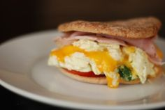 230 Calorie breakfast sandwich! Thank you! I love 100 calorie rounds and egg whites, cheese, and everything else!