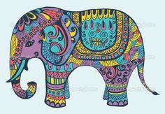 Manycolored estilizada elefante — Ilustración de stock #9935398