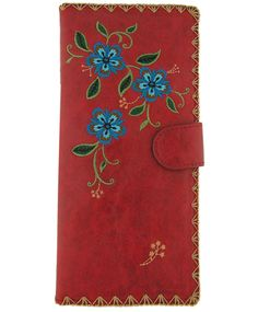 great gift from Lavishy boutique--vegan leather carnation flower embroidery wallet #vegan wallet