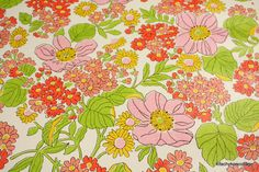1970's Vintage Wallpaper Retro Pink Coral and Green Floral. $10.00, via Etsy.