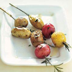 baby potatoes on rosemary skewers