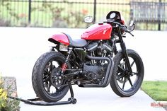 "Harley Davidson Sportster XL883, XL1200 Cafe Racer Inspired - Cafe Tail Section, Clubman Handlebars, 15"" Stiletto Shocks."