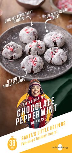 Elf's Bite-Sized Chocolate Peppermint Crinkles Christmas Snacks, Christmas Cooking, Christmas Candy, Christmas Tree, Christmas Ideas, Cookie Desserts, Holiday Baking, Christmas Desserts, Cookie Recipes