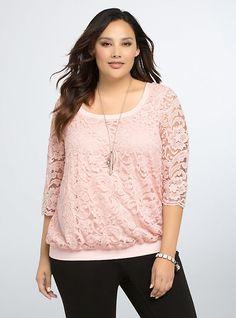 Torrid Sparkle Lace Sweatshirt, PEACH SKIN