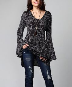 This Charcoal Floral Bell-Sleeve Tunic - Plus by Reborn Collection is perfect! #zulilyfinds