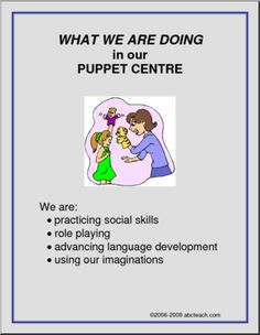 What We Are Doing Sign: Puppet Centre | abcteach Preschool Classroom, Preschool Learning, Learning Centers, Early Learning, Teaching Kids, Mobile Learning, Kindergarten, Early Education, Early Childhood Education