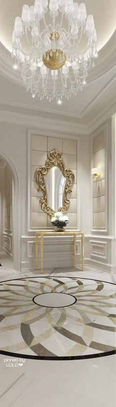 Spectacular chandelier and mirror.