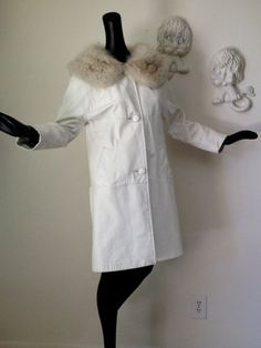 MOD Mad Men Coat White Leather Fox Fur Collar by elliemayhems
