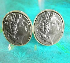These heavy silver Greek coin cufflinks have Alexander the great on the front in cameo style. A fine cuff accessory for a man and extremely