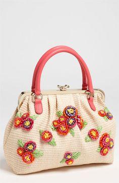 RED Valentino Embroidered Floral Raffia Handbag