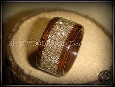 Bentwood Ring - Rosewood Wood Ring with Crushed Silver Glass Inlay - Bentwood Jewelry Designs - Custom Handcrafted Bentwood Wood Rings  - 4