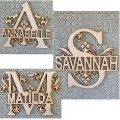 Woodworking Patterns A S M. - Laser Cut Wooden and Acrylic Decor. Gifts for all Occasions. - Monogram Flourish With Personalised Name Router Projects, Small Woodworking Projects, Small Wood Projects, Woodworking Patterns, Fine Woodworking, Woodworking Hacks, Woodworking Logo, Woodworking Chisels, Youtube Woodworking