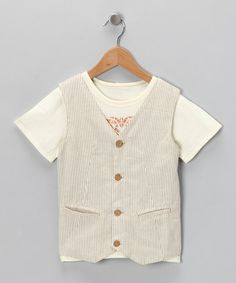 Take a look at this Cream Lion Tee & Vest - Toddler & Boys  by Adams on #zulily today!