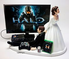 MASTER CHIEF Gamer Wedding Cake Topper Funny Bride and Groom Xbox One by TopShelfToppers on Etsy  #Weddings #Decorations #CakeToppers #Funny #COD #Gamer #Cute #Grooms Cake #Topper #Custom #Wedding #Videogame #Xbox #PS4 #Game #Bride andGroom #Custom #Customcaketopper #Unique #Bride #Groom #Cake #Topper #Toppers