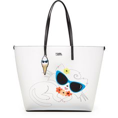 Karl Lagerfeld Choupette on the Beach Shopper ($180) ❤ liked on Polyvore featuring bags, handbags, tote bags, white, white tote bag, shopping tote, summer tote bags, beach tote and cat tote