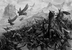 Bretonnian Army. Warhammer fantasy art by Karl Kopinski.