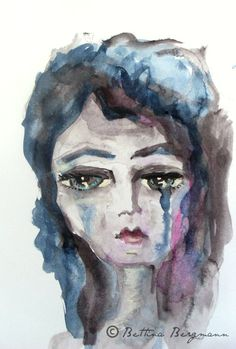 sad girl (watercolor and ink pen on paper)