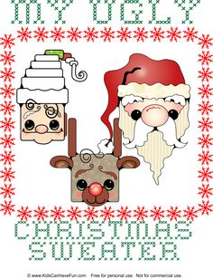 DIY My Ugly Christmas Sweater design http://www.kidscanhavefun.com/christmas-crafts.htm #diychristmas #uglysweater #homemade