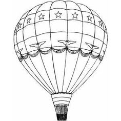 Hot Air Balloon With Stars Coloring Page