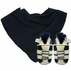 Dotty Fish Weiche Leder Babyschuhe mit Wildleder-Sohlen. Dunkelblaues & weißes Sportschuh Design mit dunkelblauem Bandana Lätzchen. Geschenkset Dotty Fish.