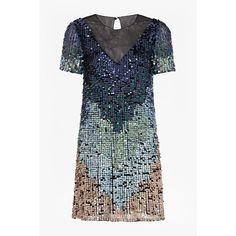 French Connection Cosmic Beam Sequin Dress ($268) ❤ liked on Polyvore featuring dresses, transparent dress, short sleeve sequin dress, blue sequin dress, blue dress and sheer panel dress