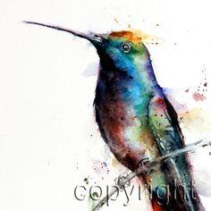 HUMMINGBIRD Watercolor Print by Dean Crouser by DeanCrouserArt, $25.00