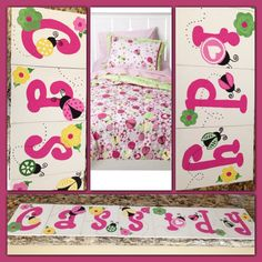 Made to Match Target Circo Ladybug Bedding .... Freehand letters.... Ladybugs free hand.... Thin canvas pack from Michaels and craft paint.. Total price $8 to make :)