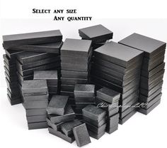 awesome LOT of 20~50~100~500Pcs BLACK COTTON FILLED BOXES BLACK JEWELRY GIFT BOXES