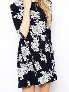 White Rosa Chinensis Printed Black Half Sleeve Dress