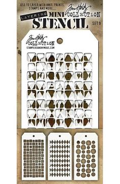 "TIM HOLTZ: Mini Layering Stencil Set 3/pkg (Set #9) Use these stencils to layer with inks, paints, stamps and more.This package contains three 3 1/8"" x 6 1/4"" stencils including the following mini ste"
