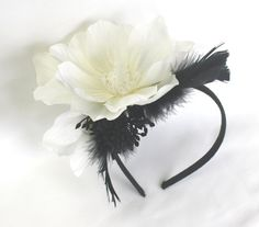 Spring Racing Floral Headband Fascinator Black and White